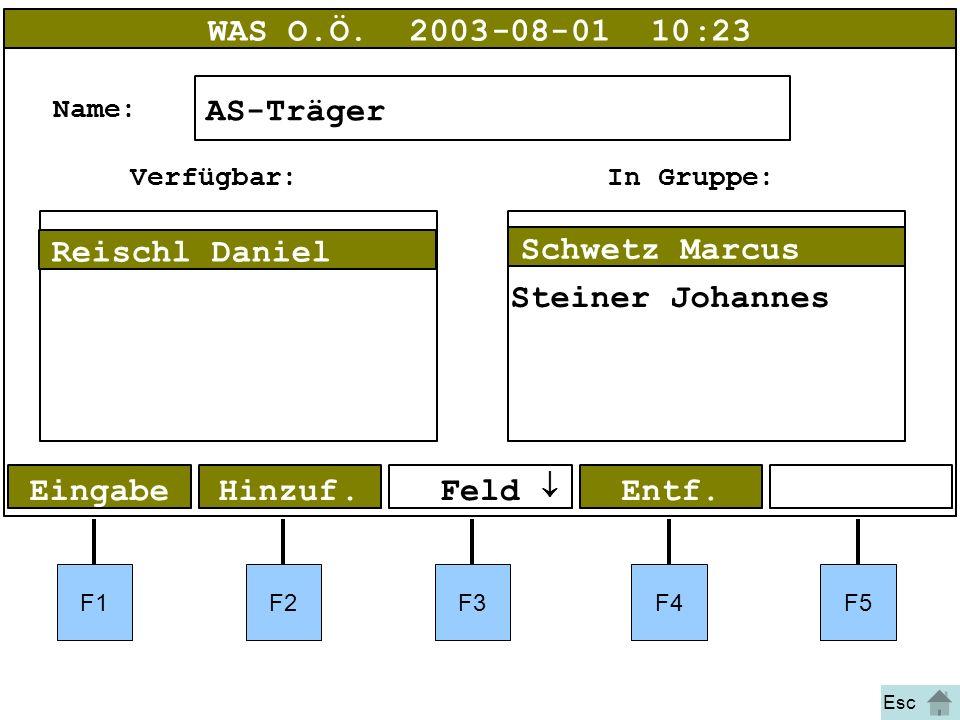 Bild 48 F1F2F3F4F5 EingabeHinzuf. WAS O.Ö.2003-08-01 10:23 AS-Träger Name: Entf.