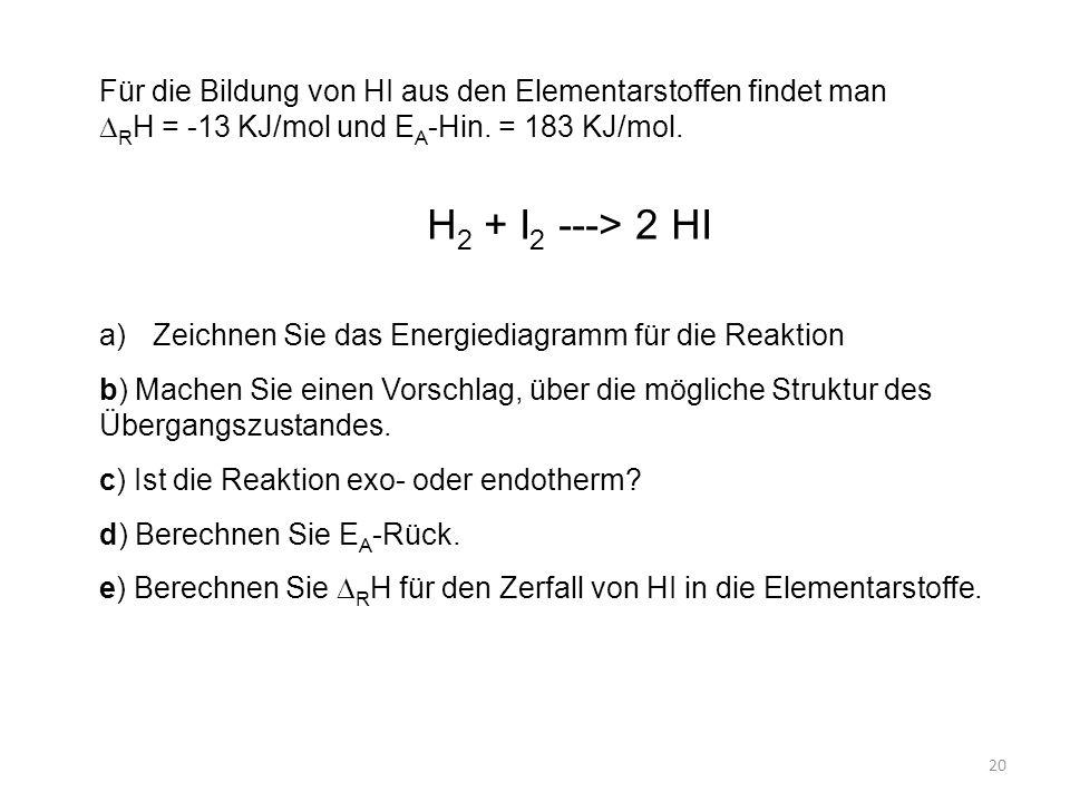 Für die Bildung von HI aus den Elementarstoffen findet man  R H = -13 KJ/mol und E A -Hin.