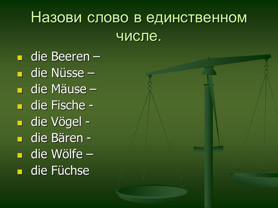 Назови слово в единственном числе. die Beeren – die Beeren – die Nüsse – die Nüsse – die Mäuse – die Mäuse – die Fische - die Fische - die Vögel - die