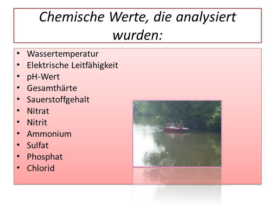 Chemische Werte, die analysiert wurden: Wassertemperatur Elektrische Leitfähigkeit pH-Wert Gesamthärte Sauerstoffgehalt Nitrat Nitrit Ammonium Sulfat Phosphat Chlorid Wassertemperatur Elektrische Leitfähigkeit pH-Wert Gesamthärte Sauerstoffgehalt Nitrat Nitrit Ammonium Sulfat Phosphat Chlorid