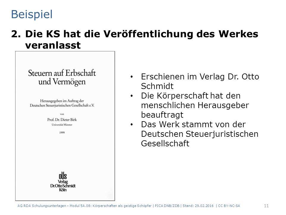 Beispiel 2.Die KS hat die Veröffentlichung des Werkes veranlasst AG RDA Schulungsunterlagen – Modul 5A.08: Körperschaften als geistige Schöpfer | PICA DNB/ZDB | Stand: 29.02.2016 | CC BY-NC-SA 11 Erschienen im Verlag Dr.