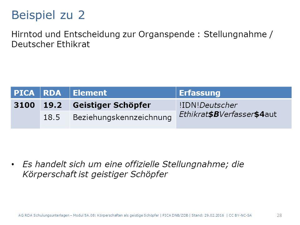 Beispiel zu 2 Hirntod und Entscheidung zur Organspende : Stellungnahme / Deutscher Ethikrat Es handelt sich um eine offizielle Stellungnahme; die Körperschaft ist geistiger Schöpfer AG RDA Schulungsunterlagen – Modul 5A.08: Körperschaften als geistige Schöpfer | PICA DNB/ZDB | Stand: 29.02.2016 | CC BY-NC-SA 28 PICARDAElementErfassung 310019.2Geistiger Schöpfer!IDN!Deutscher Ethikrat$BVerfasser$4aut 18.5Beziehungskennzeichnung