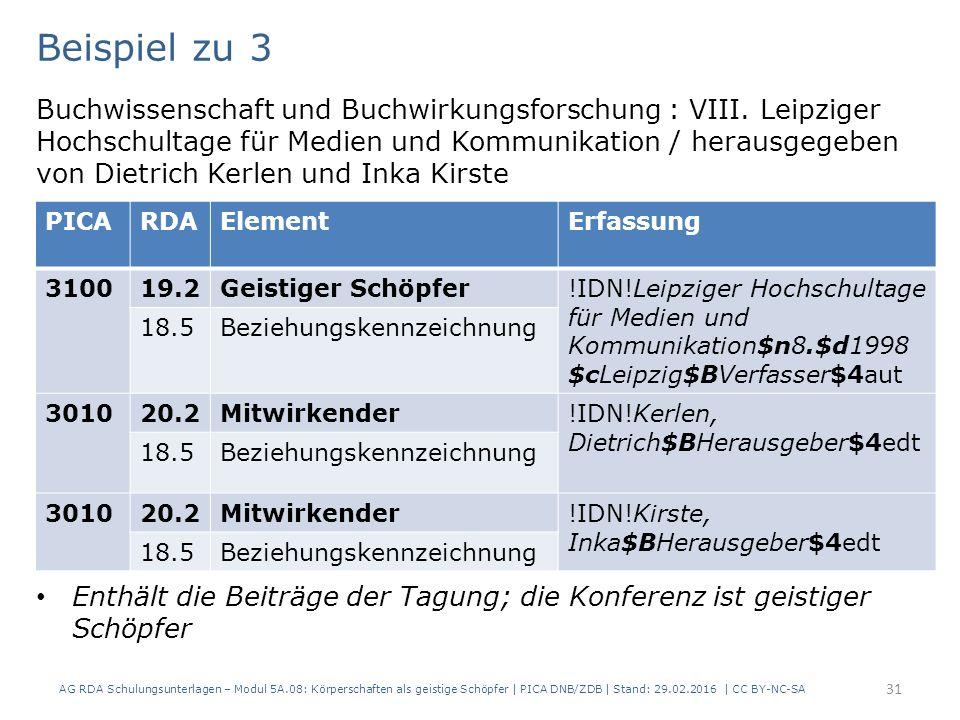 AG RDA Schulungsunterlagen – Modul 5A.08: Körperschaften als geistige Schöpfer | PICA DNB/ZDB | Stand: 29.02.2016 | CC BY-NC-SA 31 Beispiel zu 3 Buchwissenschaft und Buchwirkungsforschung : VIII.