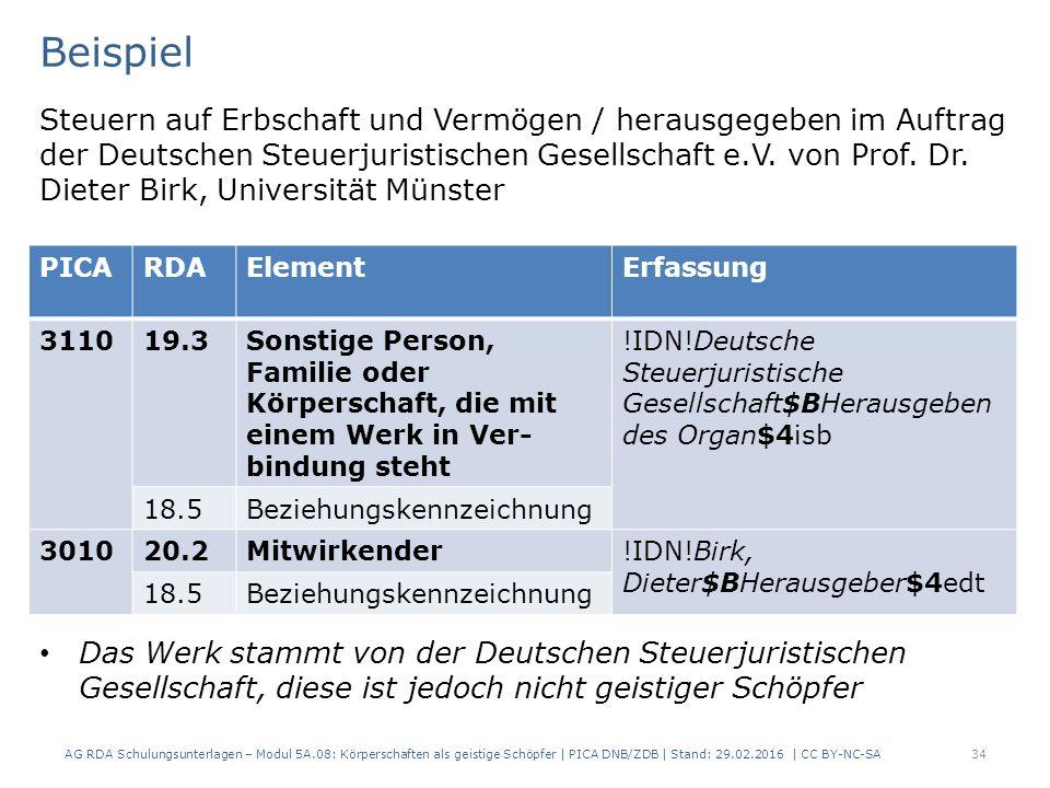 AG RDA Schulungsunterlagen – Modul 5A.08: Körperschaften als geistige Schöpfer | PICA DNB/ZDB | Stand: 29.02.2016 | CC BY-NC-SA34 Beispiel Steuern auf Erbschaft und Vermögen / herausgegeben im Auftrag der Deutschen Steuerjuristischen Gesellschaft e.V.