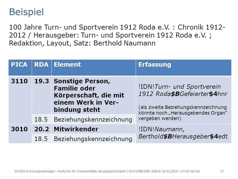 AG RDA Schulungsunterlagen – Modul 5A.08: Körperschaften als geistige Schöpfer | PICA DNB/ZDB | Stand: 29.02.2016 | CC BY-NC-SA38 Beispiel 100 Jahre Turn- und Sportverein 1912 Roda e.V.
