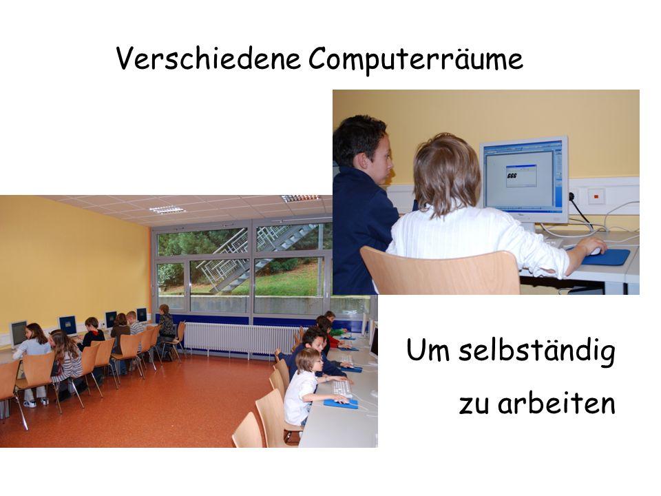 Verschiedene Computerräume Um selbständig zu arbeiten