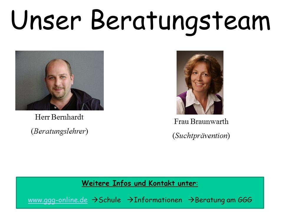 Frau Braunwarth (Suchtprävention) Unser Beratungsteam Herr Bernhardt (Beratungslehrer) Weitere Infos und Kontakt unter: www.ggg-online.dewww.ggg-online.de  Schule  Informationen  Beratung am GGG