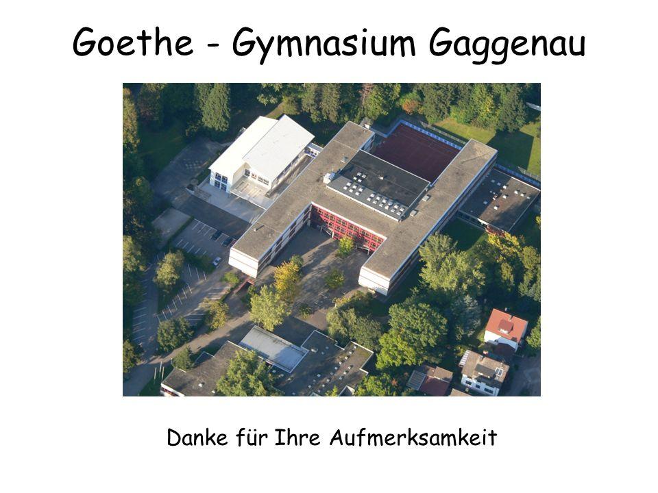 Danke für Ihre Aufmerksamkeit Goethe - Gymnasium Gaggenau