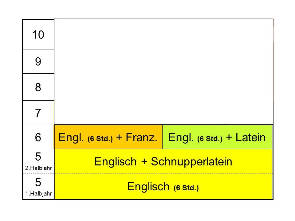 EK Engl.+ Latein Bio+GK Bio EK+G Engl. + Franz. Engl.