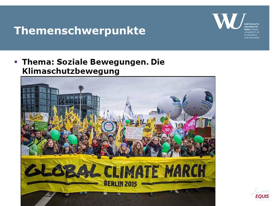 Themenschwerpunkte  Thema: Soziale Bewegungen. Die Klimaschutzbewegung