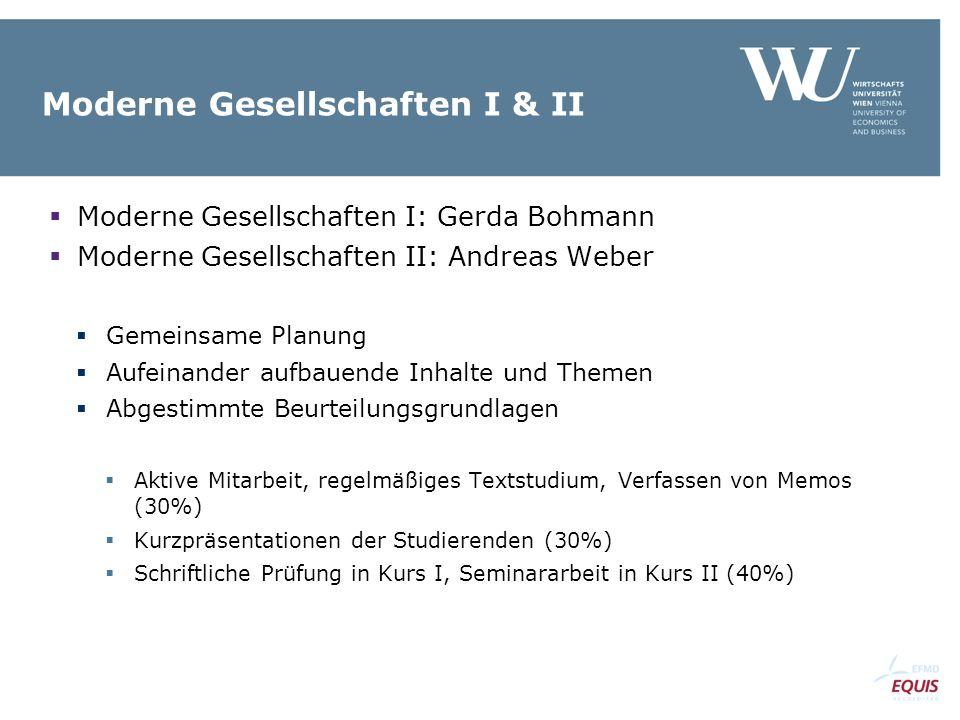 Moderne Gesellschaften I & II  Moderne Gesellschaften I: Gerda Bohmann  Moderne Gesellschaften II: Andreas Weber  Gemeinsame Planung  Aufeinander
