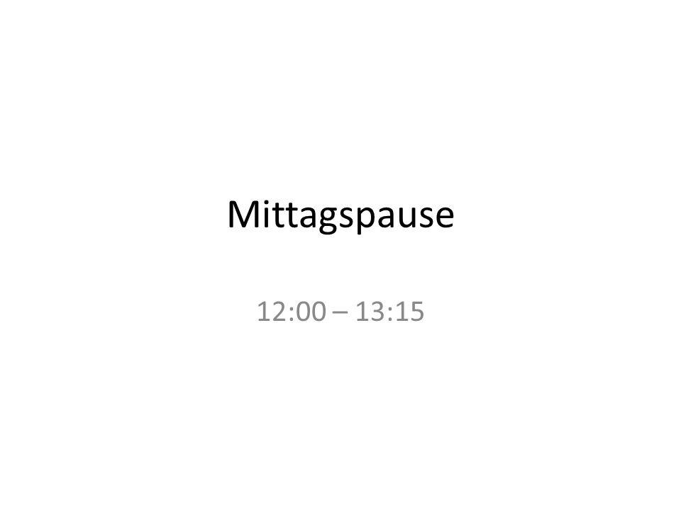 Mittagspause 12:00 – 13:15