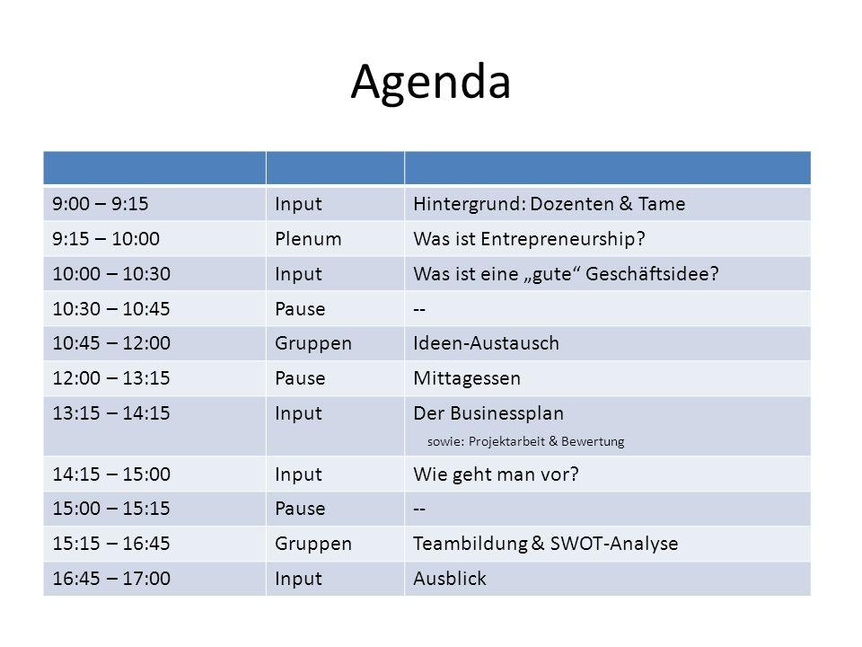 Agenda 9:00 – 9:15InputHintergrund: Dozenten & Tame 9:15 – 10:00PlenumWas ist Entrepreneurship.