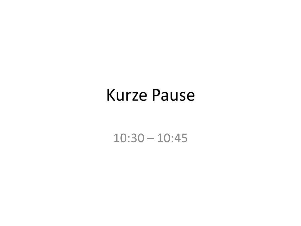 Kurze Pause 10:30 – 10:45
