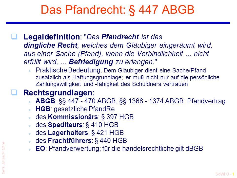 SoWi Ü - 1 Barta: Zivilrecht online Das Pfandrecht: § 447 ABGB qLegaldefinition: Das Pfandrecht ist das dingliche Recht, welches dem Gläubiger eingeräumt wird, aus einer Sache (Pfand), wenn die Verbindlichkeit...