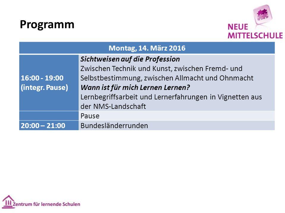 Programm Montag, 14. März 2016 16:00 - 19:00 (integr.