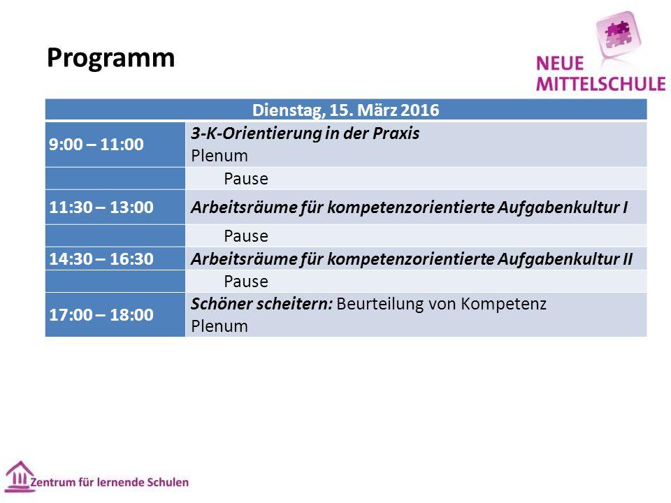Programm Dienstag, 15.