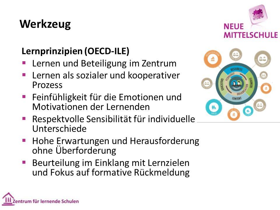Werkzeug Lernprinzipien (OECD-ILE)  Lernen und Beteiligung im Zentrum  Lernen als sozialer und kooperativer Prozess  Feinfühligkeit für die Emotionen und Motivationen der Lernenden  Respektvolle Sensibilität für individuelle Unterschiede  Hohe Erwartungen und Herausforderung ohne Überforderung  Beurteilung im Einklang mit Lernzielen und Fokus auf formative Rückmeldung