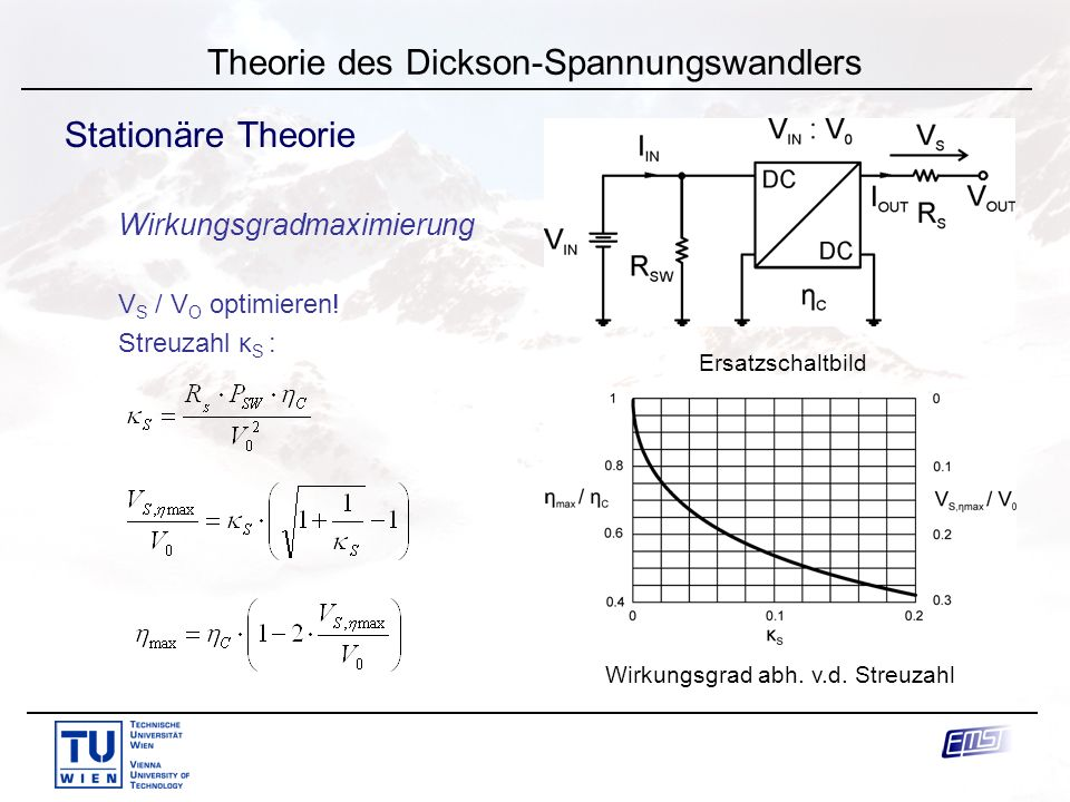 J. Knorr Theorie des Dickson-Spannungswandlers Stationäre Theorie Wirkungsgradmaximierung V S / V O optimieren! Streuzahl κ S : Wirkungsgrad abh. v.d.