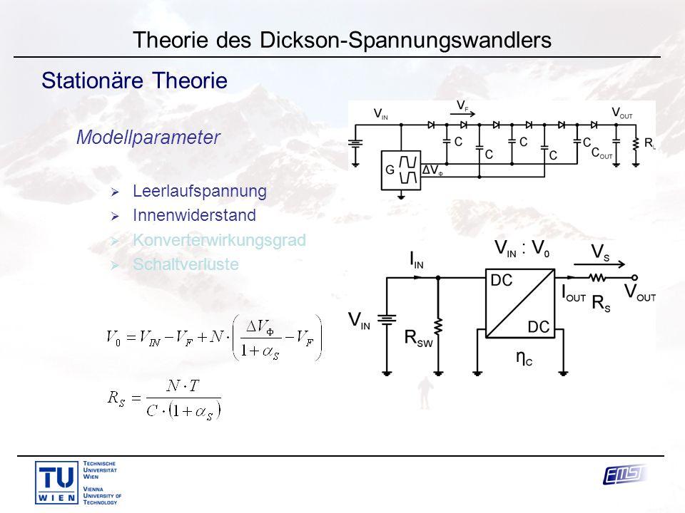 J. Knorr Theorie des Dickson-Spannungswandlers Stationäre Theorie Modellparameter  Leerlaufspannung  Innenwiderstand  Konverterwirkungsgrad  Schal