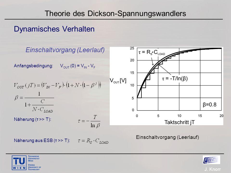 J. Knorr Theorie des Dickson-Spannungswandlers Dynamisches Verhalten Einschaltvorgang (Leerlauf) Anfangsbedingung:V OUT (0) = V IN - V F Näherung (τ >