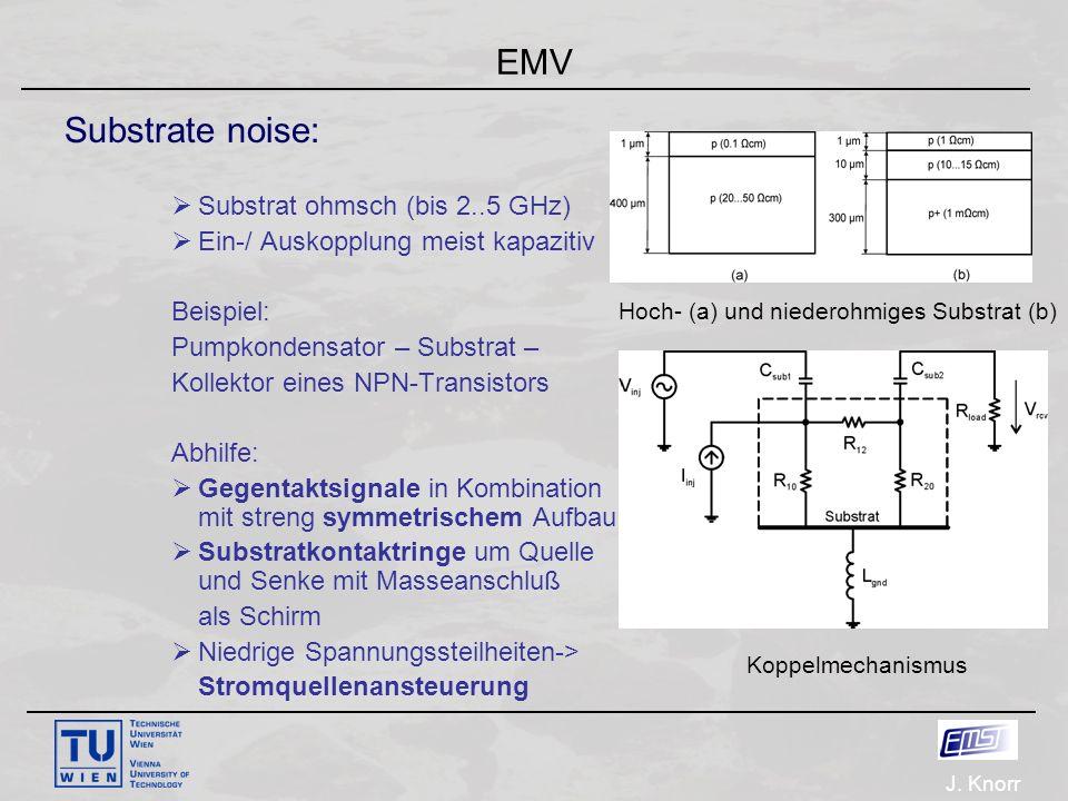 J. Knorr EMV Substrate noise:  Substrat ohmsch (bis 2..5 GHz)  Ein-/ Auskopplung meist kapazitiv Beispiel: Pumpkondensator – Substrat – Kollektor ei