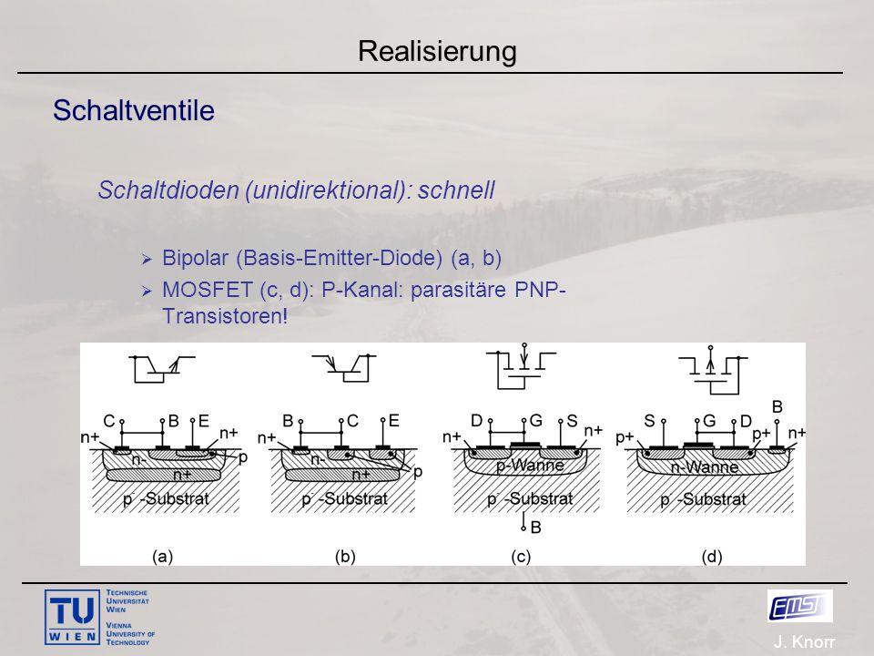 J. Knorr Realisierung Schaltventile Schaltdioden (unidirektional): schnell  Bipolar (Basis-Emitter-Diode) (a, b)  MOSFET (c, d): P-Kanal: parasitäre