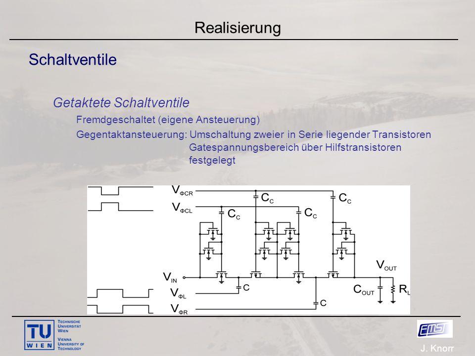 J. Knorr Realisierung Schaltventile Getaktete Schaltventile Fremdgeschaltet (eigene Ansteuerung) Gegentaktansteuerung: Umschaltung zweier in Serie lie