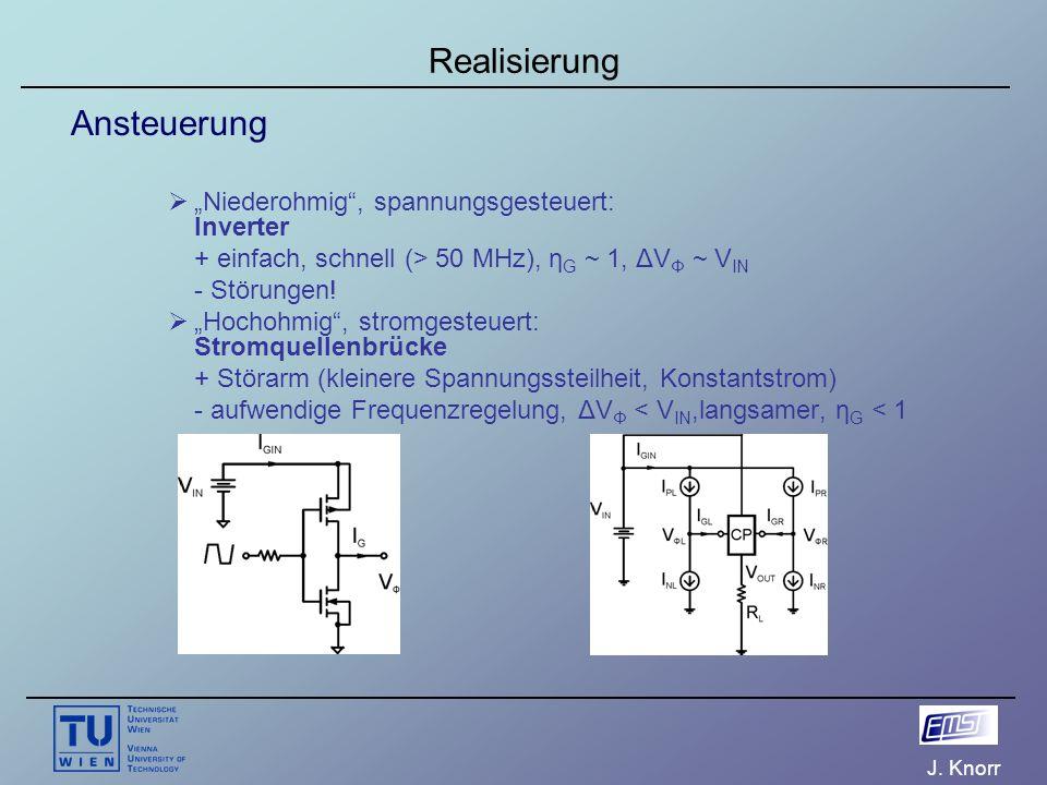 """J. Knorr Realisierung Ansteuerung  """"Niederohmig"""", spannungsgesteuert: Inverter + einfach, schnell (> 50 MHz), η G ~ 1, ΔV Φ ~ V IN - Störungen!  """"Ho"""