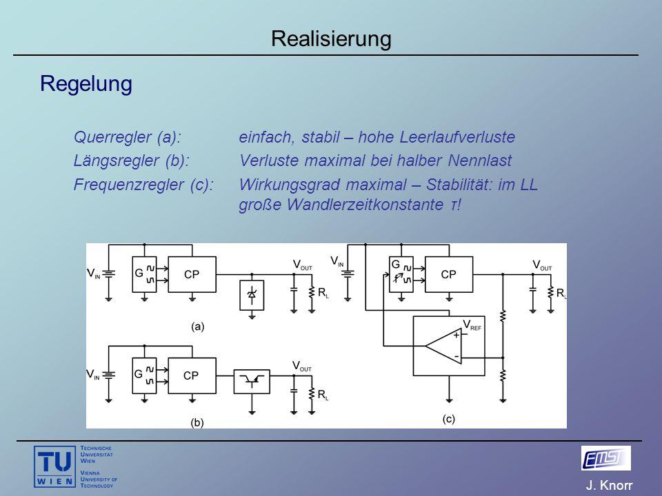 J. Knorr Realisierung Regelung Querregler (a): einfach, stabil – hohe Leerlaufverluste Längsregler (b):Verluste maximal bei halber Nennlast Frequenzre