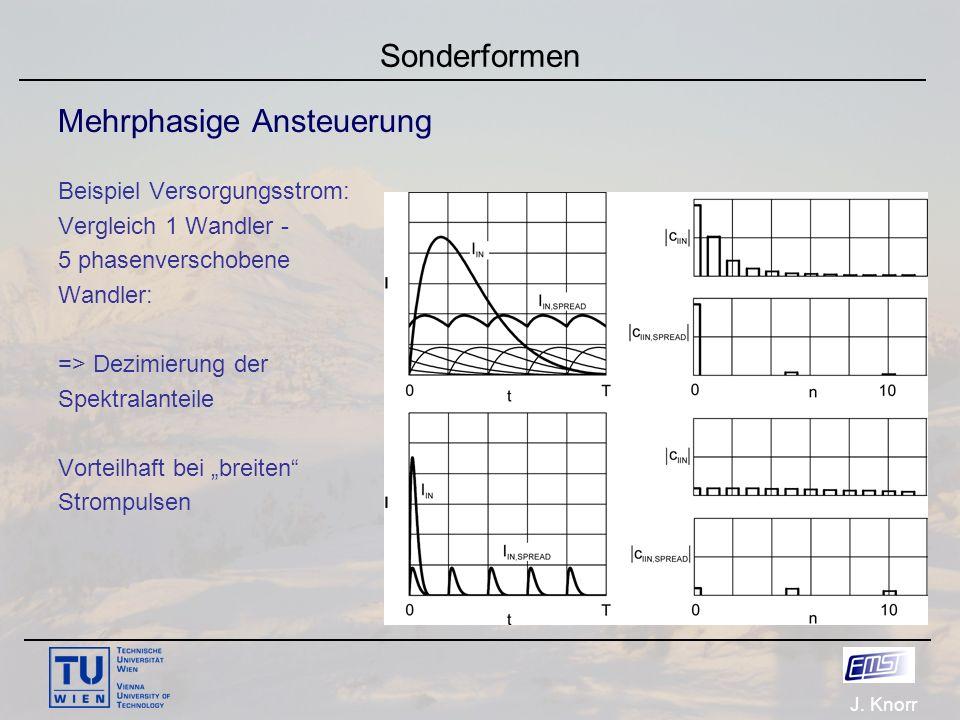 J. Knorr Sonderformen Mehrphasige Ansteuerung Beispiel Versorgungsstrom: Vergleich 1 Wandler - 5 phasenverschobene Wandler: => Dezimierung der Spektra