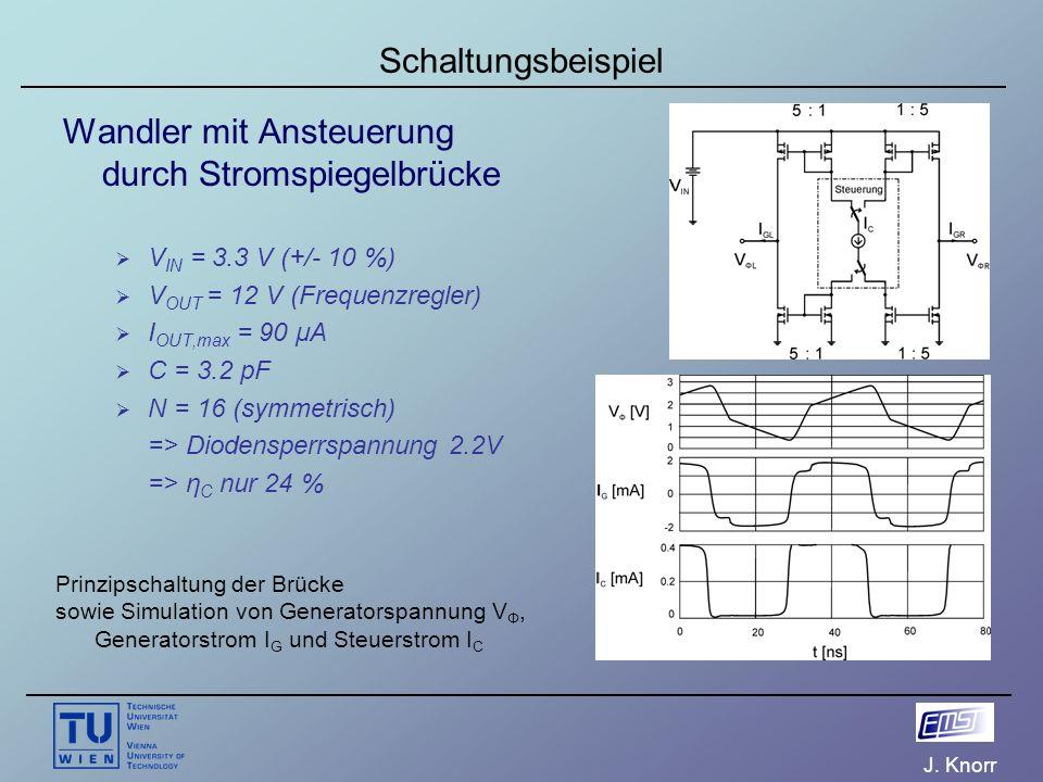 J. Knorr Schaltungsbeispiel Wandler mit Ansteuerung durch Stromspiegelbrücke  V IN = 3.3 V (+/- 10 %)  V OUT = 12 V (Frequenzregler)  I OUT,max = 9