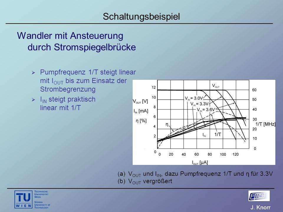 J. Knorr Schaltungsbeispiel Wandler mit Ansteuerung durch Stromspiegelbrücke  Pumpfrequenz 1/T steigt linear mit I OUT bis zum Einsatz der Strombegre