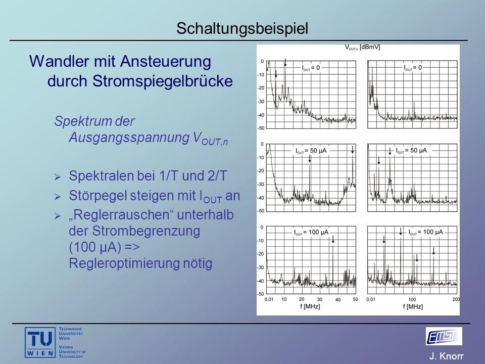 J. Knorr Schaltungsbeispiel Wandler mit Ansteuerung durch Stromspiegelbrücke Spektrum der Ausgangsspannung V OUT,n  Spektralen bei 1/T und 2/T  Stör