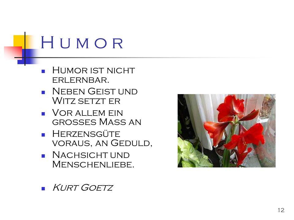 12 H u m o r Humor ist nicht erlernbar. Neben Geist und Witz setzt er Vor allem ein großes Mass an Herzensgüte voraus, an Geduld, Nachsicht und Mensch