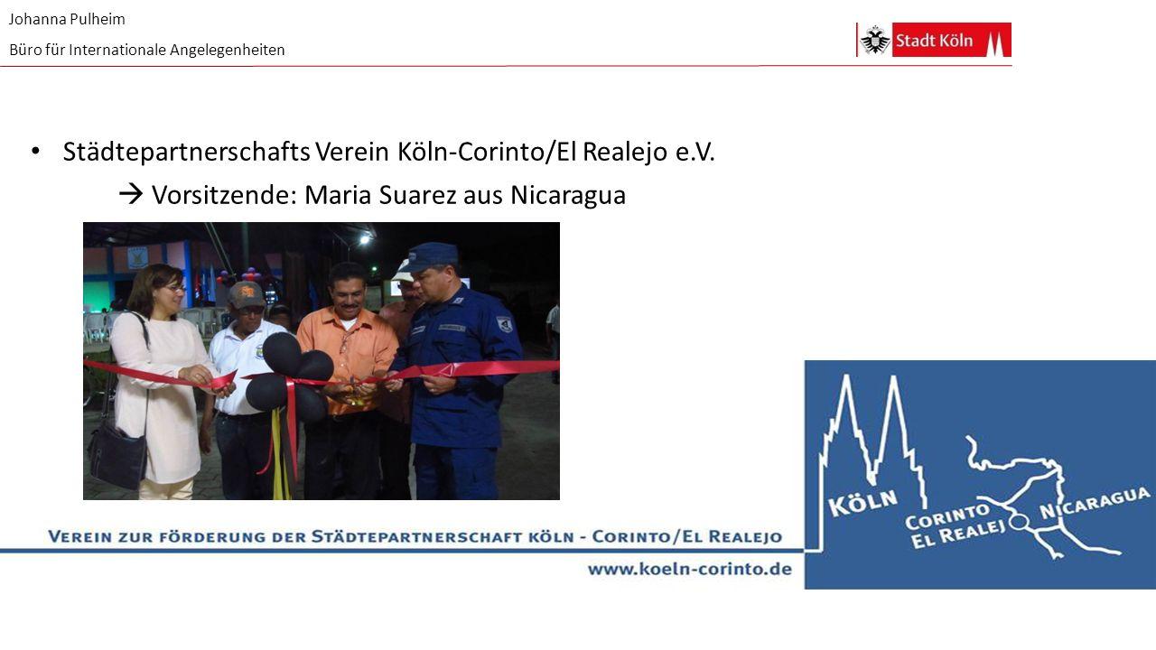 Johanna Pulheim Büro für Internationale Angelegenheiten Städtepartnerschafts Verein Köln-Corinto/El Realejo e.V.  Vorsitzende: Maria Suarez aus Nicar