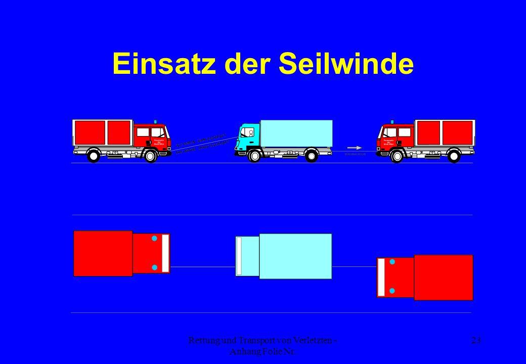 Rettung und Transport von Verletzten - Anhang Folie Nr. 23 Einsatz der Seilwinde