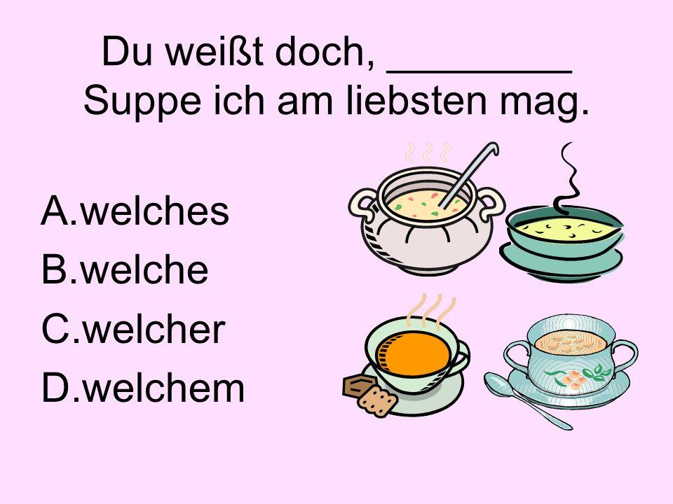 Du weißt doch, ________ Suppe ich am liebsten mag. A.welches B.welche C.welcher D.welchem