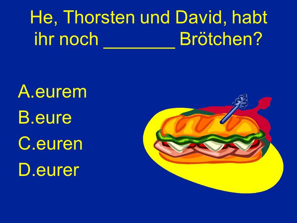 He, Thorsten und David, habt ihr noch _______ Brötchen A.eurem B.eure C.euren D.eurer