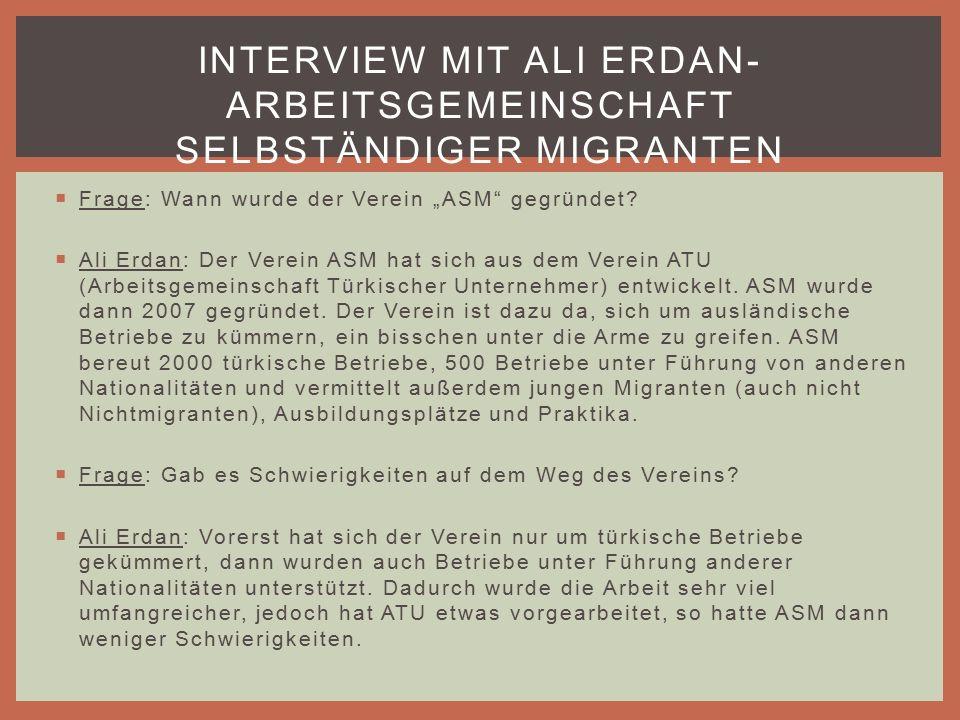 """ Frage: Wann wurde der Verein """"ASM gegründet."""