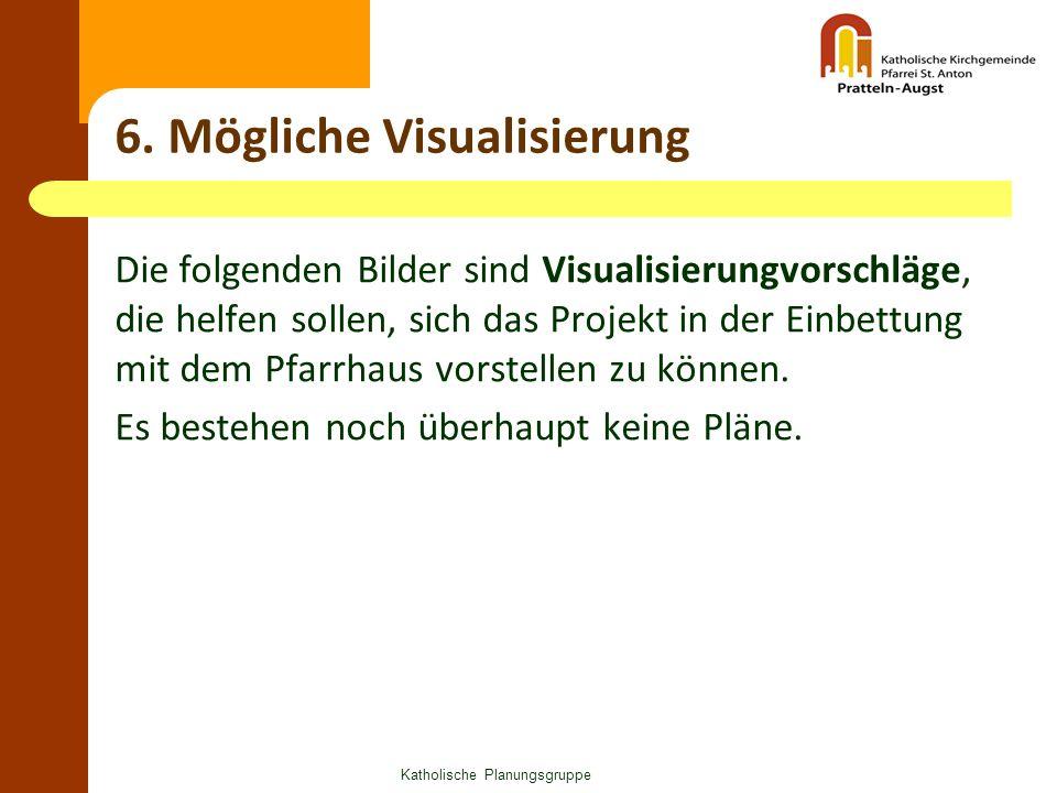 6. Mögliche Visualisierung Die folgenden Bilder sind Visualisierungvorschläge, die helfen sollen, sich das Projekt in der Einbettung mit dem Pfarrhaus