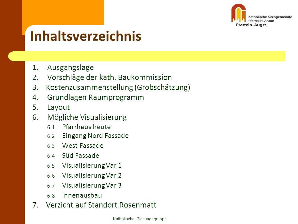 Katholische Planungsgruppe Inhaltsverzeichnis 1.Ausgangslage 2.Vorschläge der kath. Baukommission 3. Kostenzusammenstellung (Grobschätzung) 4.Grundlag
