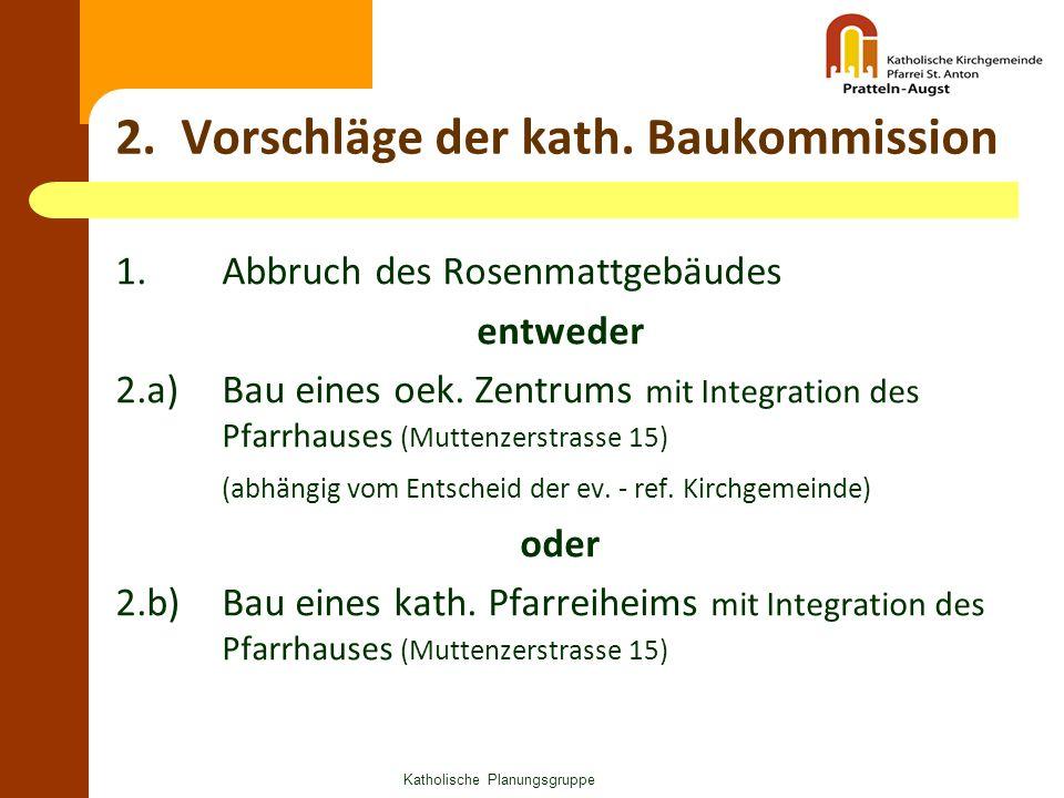 2. Vorschläge der kath. Baukommission 1. Abbruch des Rosenmattgebäudes entweder 2.a) Bau eines oek. Zentrums mit Integration des Pfarrhauses (Muttenze