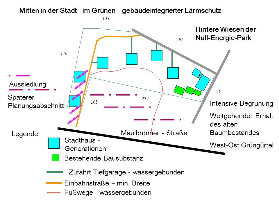 176 105 194 71 237 105 Maulbronner - Straße Hintere Wiesen der Null-Energie-Park Legende: Stadthaus - Generationen Bestehende Bausubstanz Einbahnstraße – min.