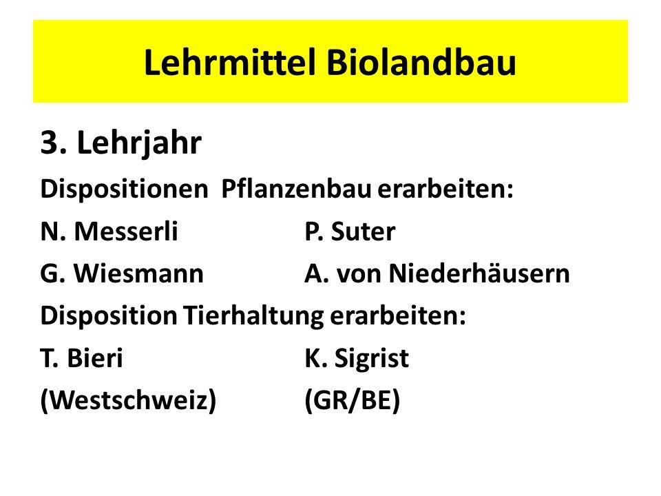 3. Lehrjahr Dispositionen Pflanzenbau erarbeiten: N. MesserliP. Suter G. WiesmannA. von Niederhäusern Disposition Tierhaltung erarbeiten: T. BieriK. S