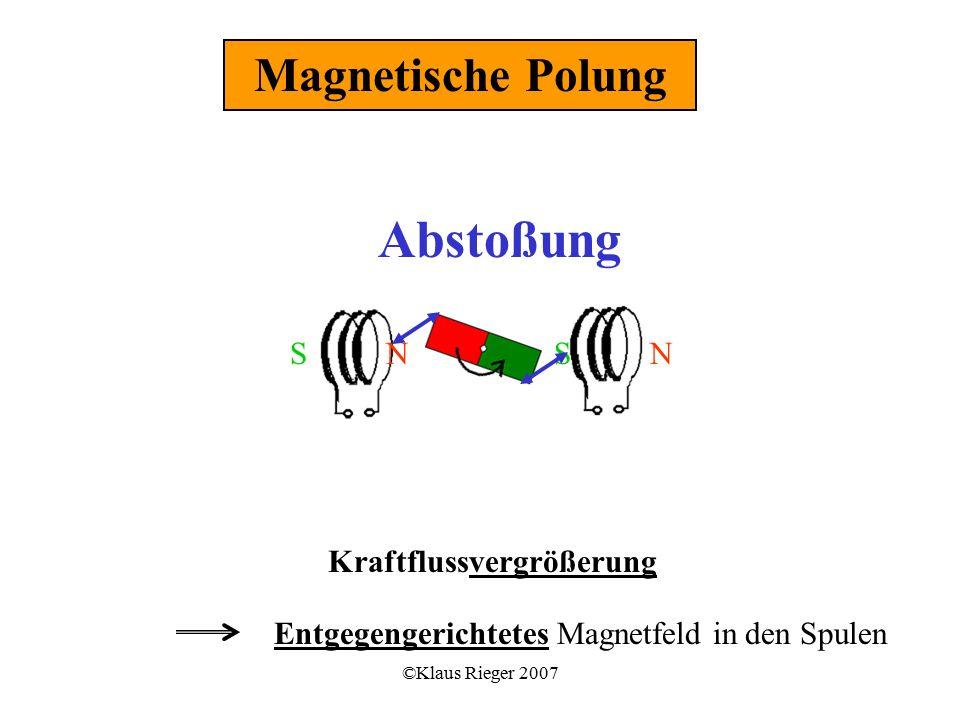 ©Klaus Rieger 2007 Kraftflussvergrößerung Entgegengerichtetes Magnetfeld in den Spulen Magnetische Polung SSNN Abstoßung