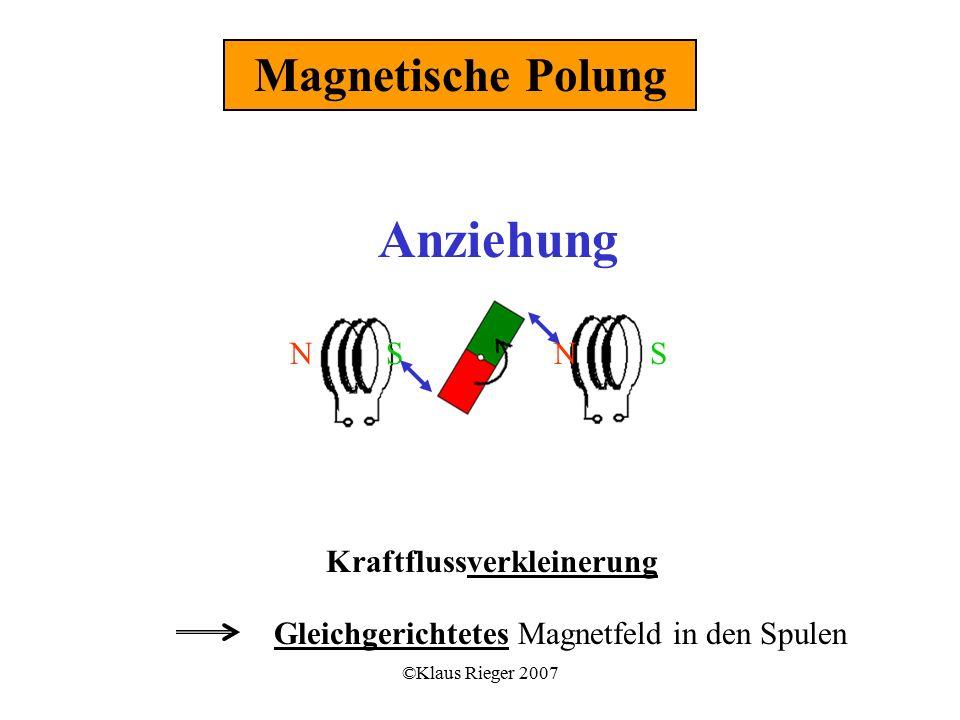 ©Klaus Rieger 2007 Kraftflussverkleinerung Gleichgerichtetes Magnetfeld in den Spulen Magnetische Polung NNSS Anziehung