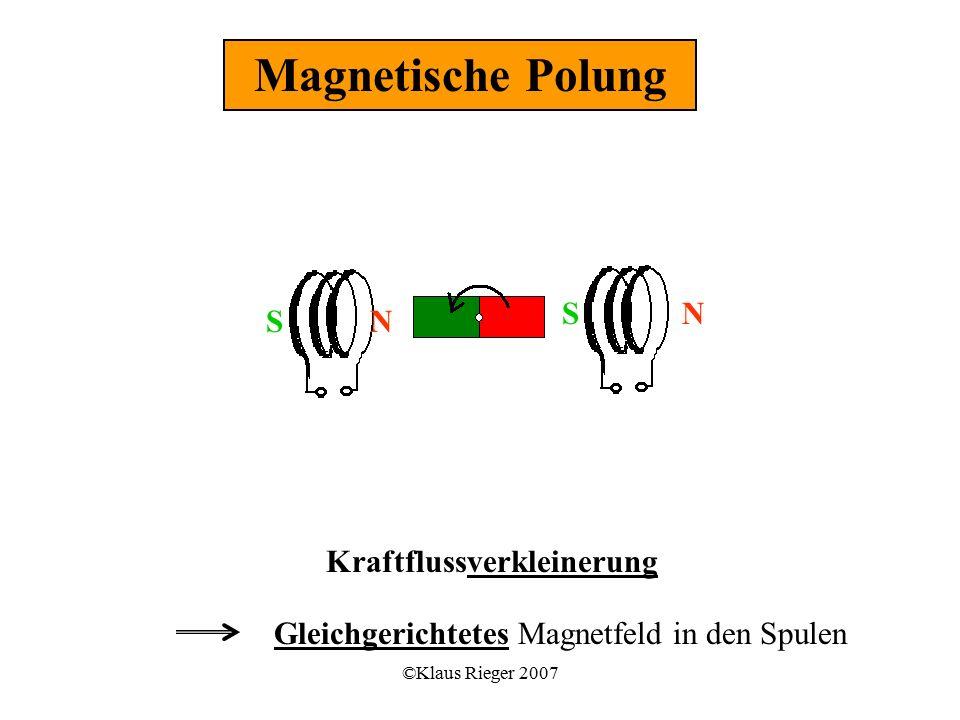 ©Klaus Rieger 2007 Kraftflussverkleinerung Gleichgerichtetes Magnetfeld in den Spulen Magnetische Polung SN NS