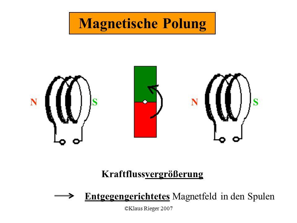 ©Klaus Rieger 2007 Kraftflussvergrößerung Entgegengerichtetes Magnetfeld in den Spulen SSNN Magnetische Polung