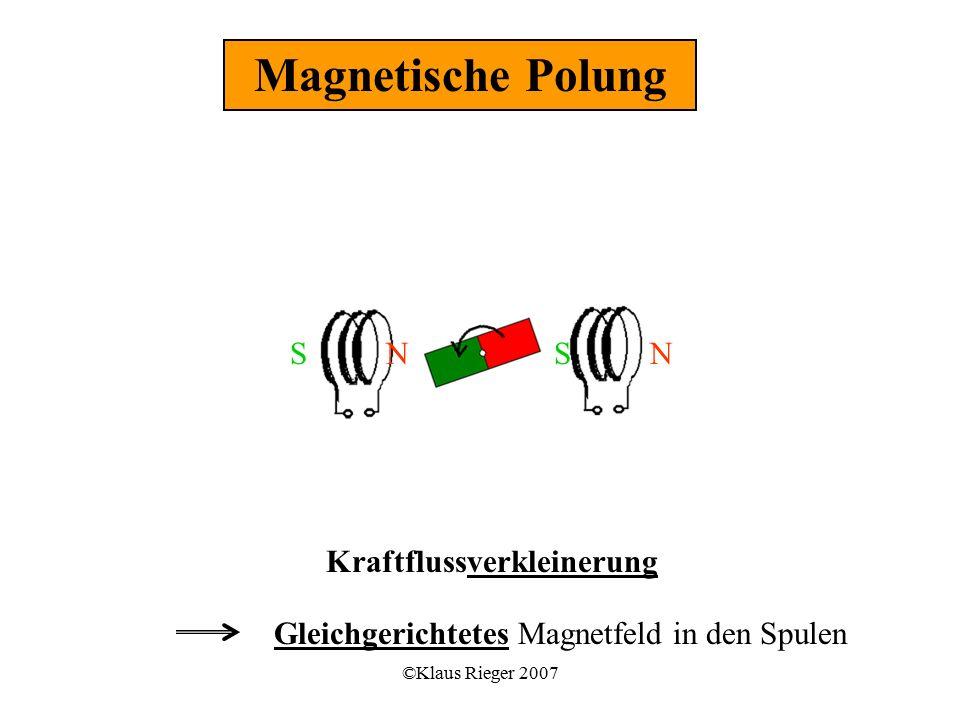©Klaus Rieger 2007 Kraftflussverkleinerung Gleichgerichtetes Magnetfeld in den Spulen Magnetische Polung SSNN